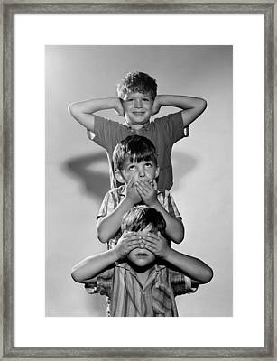 Boys Mime 3 Wise Monkeys, C.1960s Framed Print by D. Corson/ClassicStock