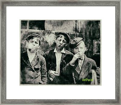 Little Did They Know... Boys Smoking Framed Print