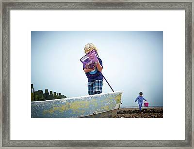 Boys Playing On Beach With Fishing Net Framed Print