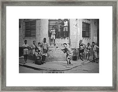 Boys Playing Stickball Havana Cuba 1999 Framed Print