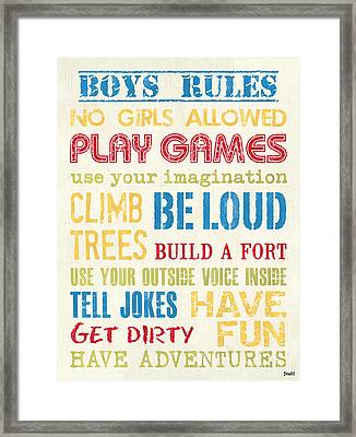 Boys Rules Framed Print by Debbie DeWitt