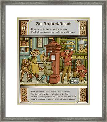 Boys Shining Shoes For Money Framed Print by British Library