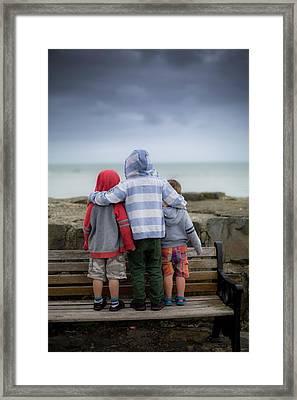 Boys Standing On Bench Framed Print by Samuel Ashfield