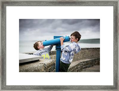 Boys Using Coin Operated Telescopes Framed Print by Samuel Ashfield