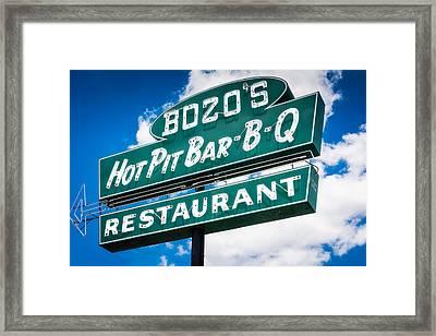 Bozo's Hot Pit Bar-b-q Sign Framed Print
