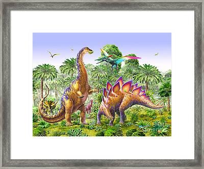 Brachiosaur And Stegasaur Framed Print