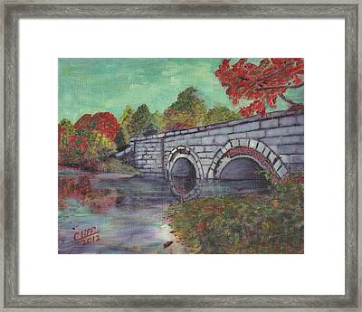 Brackett Reservoir Railroad Bridge Framed Print by Cliff Wilson