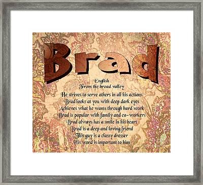 Brad Framed Print by Daryl Macintyre