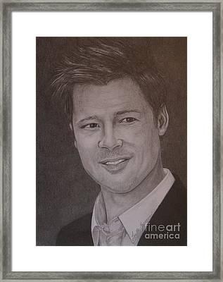 Brad Pitt Framed Print by Lorelle Gromus