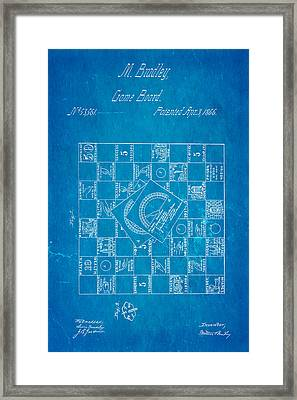 Bradley Game Of Life Patent 1866 Blueprint Framed Print by Ian Monk