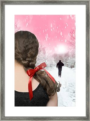 Braided Hair With Red Ribbon Framed Print by Amanda Elwell