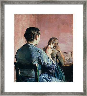 Braiding Her Hair Framed Print by Christian Krohg