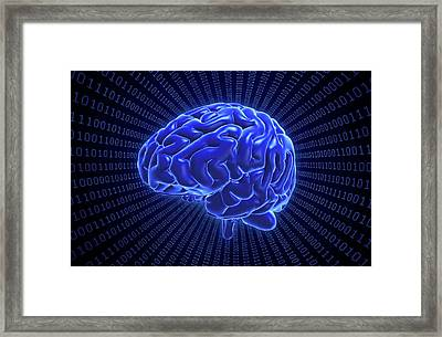 Brain And Binary Code Framed Print by Andrzej Wojcicki