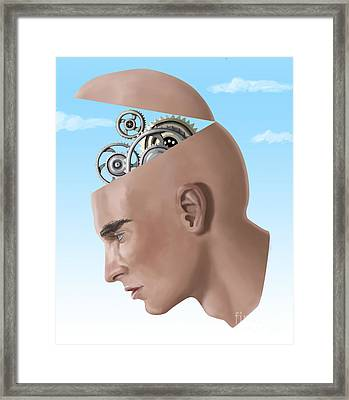 Brain Cogs Framed Print by Spencer Sutton