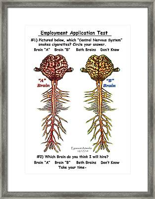 Brain Compared With Smoking Brain Framed Print