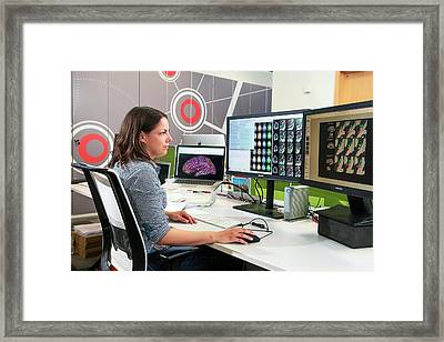 Brain Imaging Research Framed Print by John Cairns Photography/oxford University Images