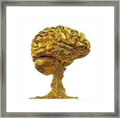 Brain Made Of Gold Framed Print by Russell Kightley