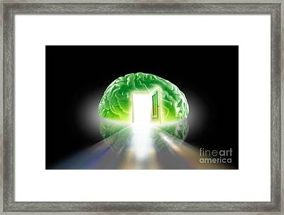 Brain With Doorway Framed Print by Mike Agliolo