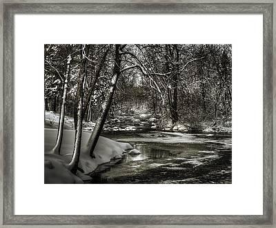 Brainards Bridge After A Snow Storm 4 Framed Print