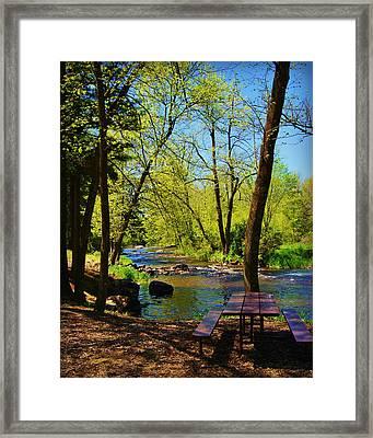 Brainards Bridge Park Waupaca Wi Framed Print by Carol Toepke