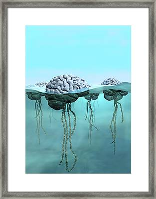 Brains As Jellyfish Framed Print by Russell Kightley