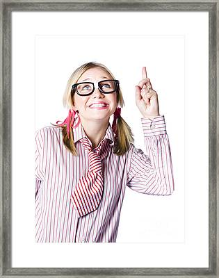 Brainy Business Woman Pointing To Copyspace Framed Print
