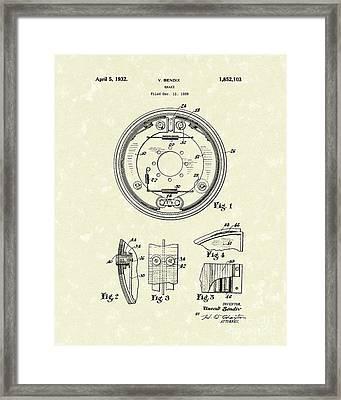 Brake 1932 Patent Art Framed Print by Prior Art Design