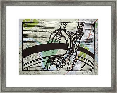 Brake On Map Framed Print