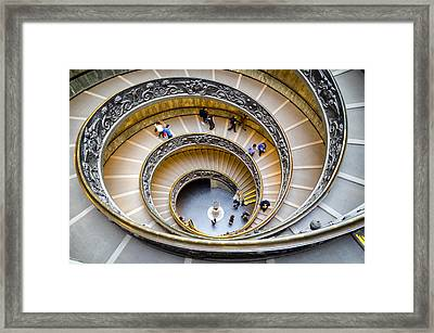 Bramante Spiral Staircase In Vatican City Framed Print by Pablo Lopez