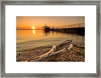 Branch Barge And Sunset Framed Print by Davorin Mance
