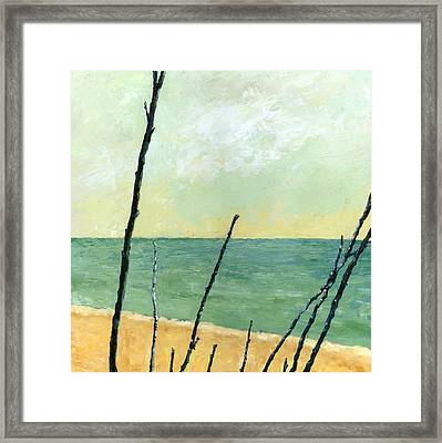Branches On The Beach - Oil Framed Print by Michelle Calkins