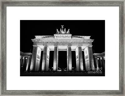 Brandenburg Gate At Night Berlin Germany Framed Print by Joe Fox