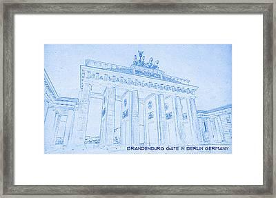 Brandenburg Gate In Berlin Germany - Blueprint Drawing Framed Print