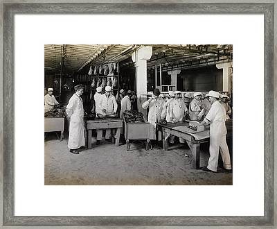 Branding Smoked Hams At The Meat Framed Print by Stocktrek Images