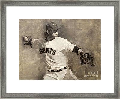 Brandon Crawford Framed Print by Darren Kerr