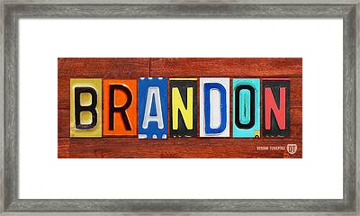 Brandon License Plate Name Sign Fun Kid Room Decor Framed Print by Design Turnpike