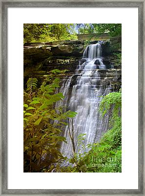 Brandywine Falls Of Cuyahoga Valley National Park Waterfall Water Fall Framed Print by Jon Holiday