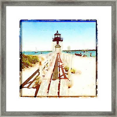 Brant Point Painted Framed Print by Natasha Marco