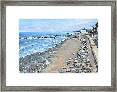 Framed Print featuring the painting Brant Rock At High Tide by Rita Brown