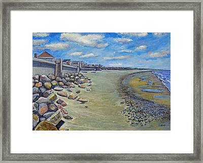 Framed Print featuring the painting Brant Rock Beach by Rita Brown