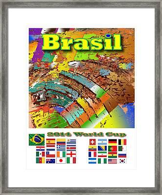 Brasil World Cup Poster Framed Print by Jorge Garza