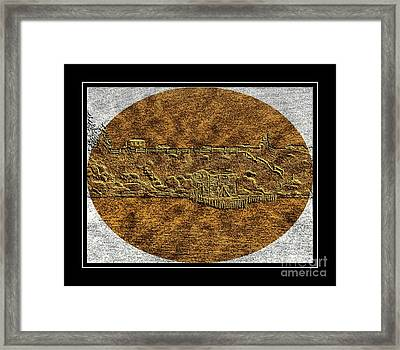 Brass Etching - Oval - Fishing Stage Framed Print by Barbara Griffin
