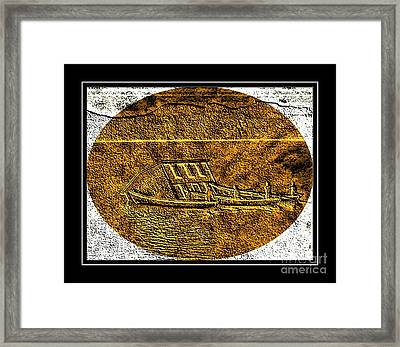 Brass Etching - Oval - Moving House By Water Framed Print by Barbara Griffin