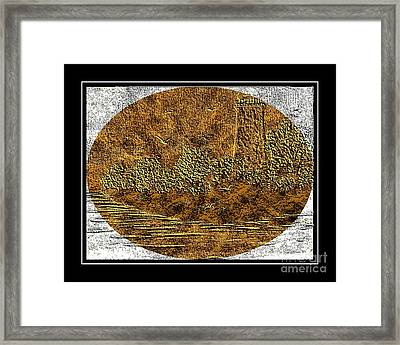 Brass Etching - Oval - Lighthouse Framed Print by Barbara Griffin
