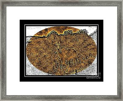 Brass Etching - Oval - Moose Framed Print by Barbara Griffin