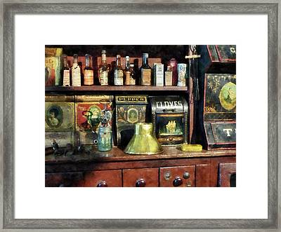 Brass Funnel And Spices Framed Print by Susan Savad