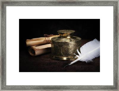 Brass Inkwell Still Life Framed Print