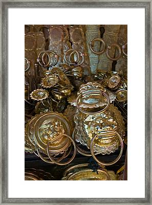 Brass Items For Sale In A Street Framed Print by Panoramic Images