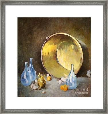 Brass Kettle With Blue Bottles After Carlsen Framed Print by Lianne Schneider