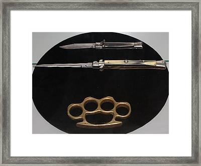 Brass Knuckles And Knives Framed Print by Steven Parker